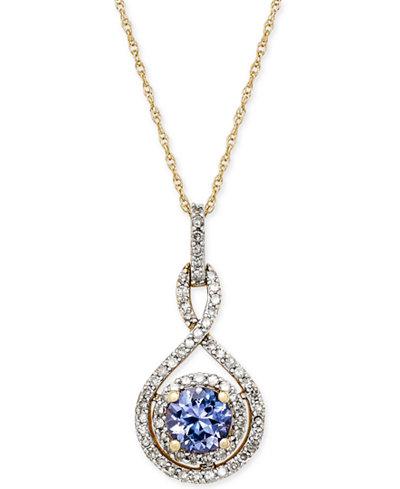 Tanzanite (3/8 ct. t.w.) and Diamond (1/4 ct. t.w.) Pendant Necklace in 14k Gold