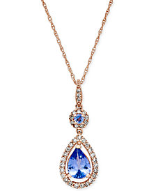 Tanzanite (1 ct. t.w.) and Diamond (1/3 ct. t.w.) Pendant Necklace in 14k Rose Gold
