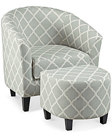 Halder Accent Chair & Ottoman, Quick Ship