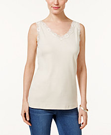 Karen Scott Petite Cotton Scalloped-Lace Tank Top, Created for Macy's
