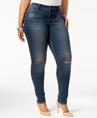 SLINK Jeans Trendy Plus Size Ripped Aya Wash Skinny Jeans