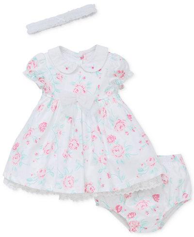 Little Me 3-Pc. Headband, Floral Dress & Diaper Cover Set, Baby Girls (0-24 months)