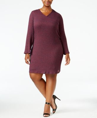 ING Trendy Plus Size Faux-Wrap Sweater Dress