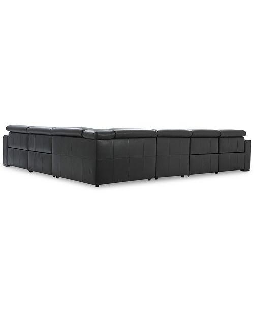 Furniture Nevio 6 Pc Leather Sectional Sofa With Chaise 3
