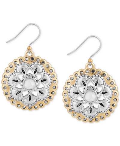 Lucky brand two tone floral drop earrings jewelry for Macy s lucky brand jewelry