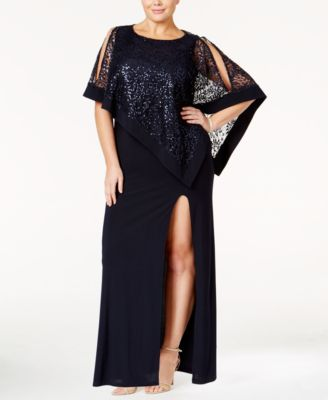 R&M Richards Plus Size Sequin-Overlay Gown