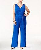 NY Collection Petite Plus Size Sleeveless Belted Jumpsuit