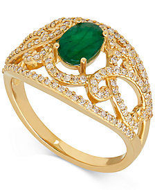 Emerald (7/8 ct. t.w.) and Diamond (3/8 ct. t.w.) Openwork Ring in 14k Gold