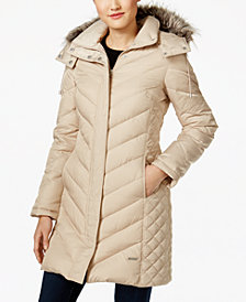 Kenneth Cole Faux Fur Hooded Chevron Down Coat