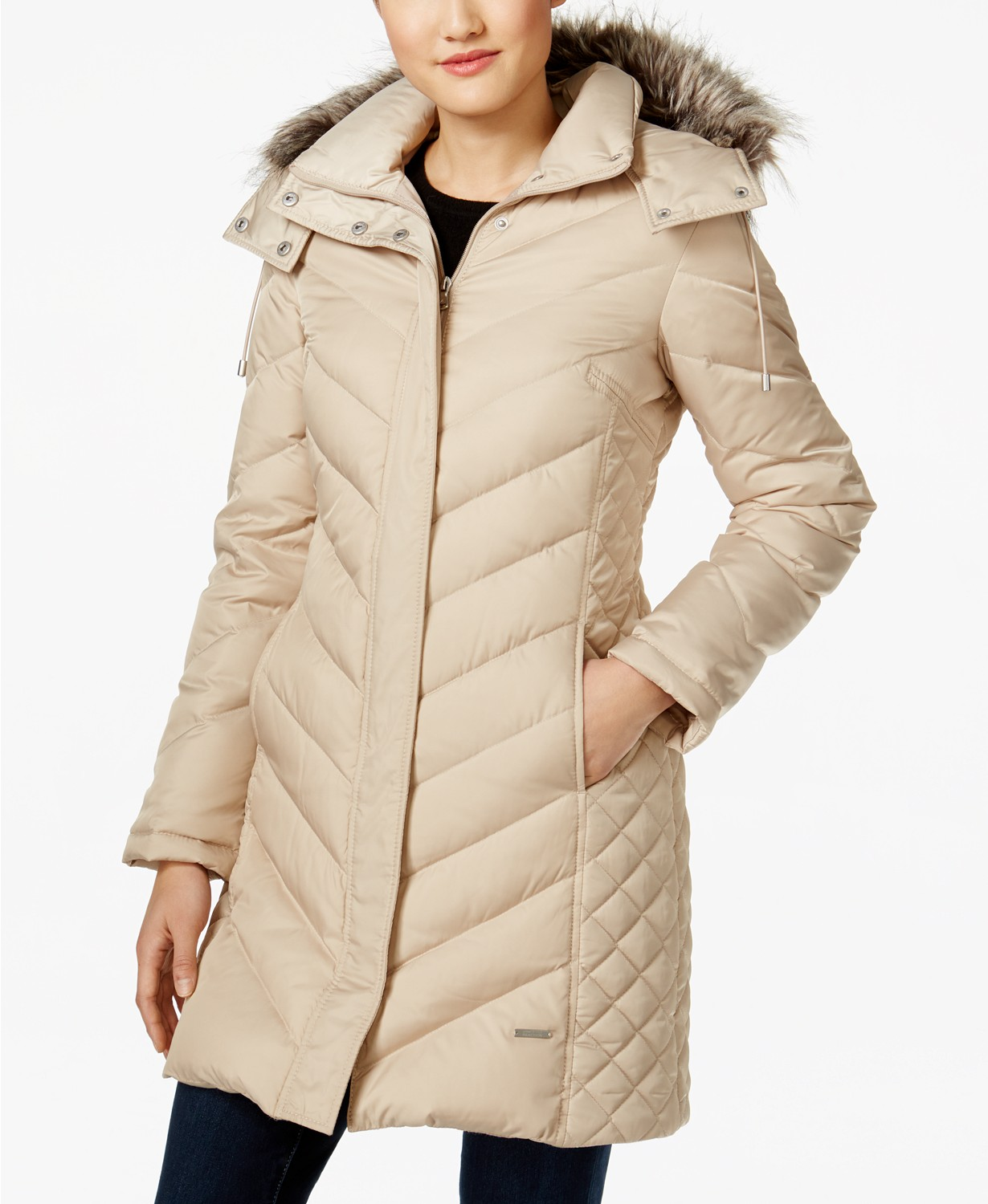 Save 60% on Kenneth Cole Hooded Faux-Fur-Trim Down Chevron Puffer Coat