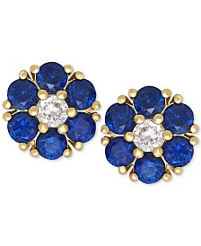 Blue Sapphire (1-1/5 ct. t.w.) and White Sapphire (1/6 ct. t.w.) Flower Stud Earrings in 14k Gold