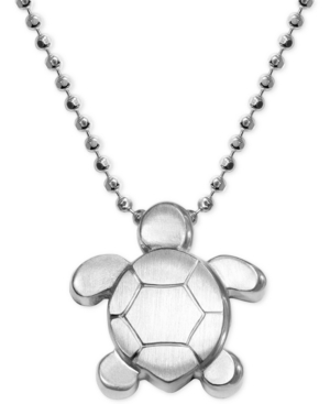 Turtle Pendant Necklace in Sterling Silver