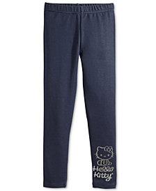 Hello Kitty Metallic-Print Denim Leggings, Little Girls