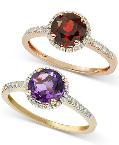 Semiprecious Ring Collection with Diamond Halo and Accents in 14k White, Yellow or Rose Gold