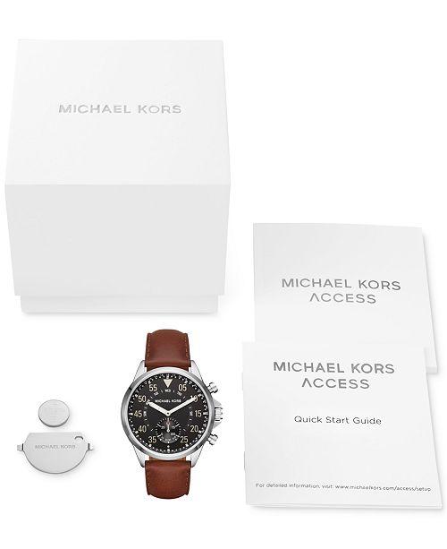 eeb1842b505e ... Michael Kors Access Men s Gage Hybrid Chocolate Leather Strap Smart  Watch 45mm MKT4001 ...