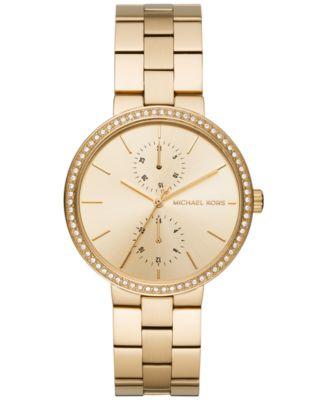 Michael Kors Women\u0026#39;s Garner Gold-Tone Stainless Steel Bracelet Watch 38mm MK6441, A Macy\u0026#39;s