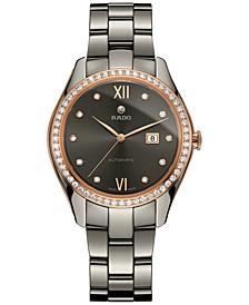 Women's Swiss Automatic Hyperchrome Diamond Accent Gray Ceramic Bracelet Watch 36mm R32523702