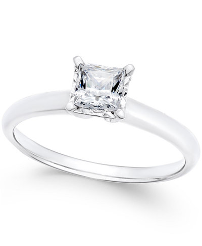 Diamond Princess Solitaire Engagement Ring (1/2 ct. t.w.) in 14k White Gold