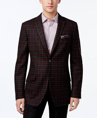 Tallia Men's Slim-Fit Charcoal/Red Check Sport Coat