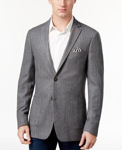 Tallia Men's Big & Tall Slim-Fit Light Gray Herringbone Sport Coat