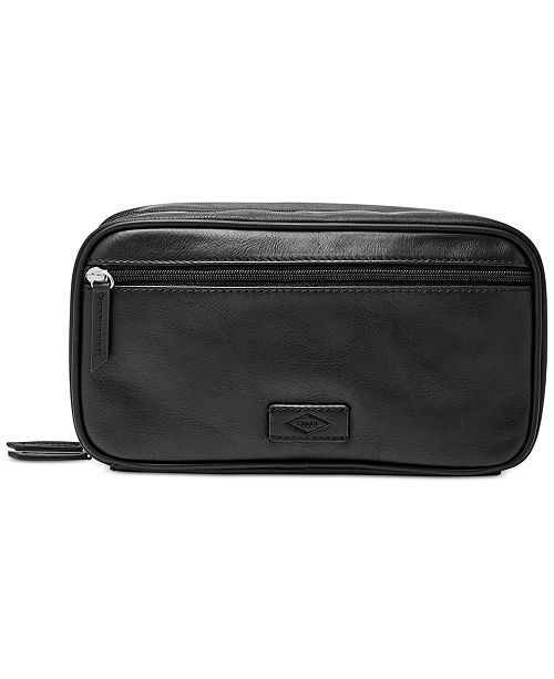 7cea85ec74 Fossil Men s Leather Double Zip Travel Toiletry Shave Kit   Reviews ...