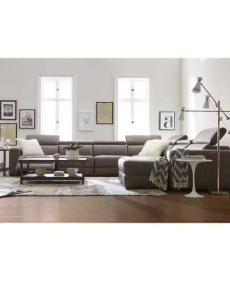 Nevio Leather Fabric Power Reclining Sectional Sofa with