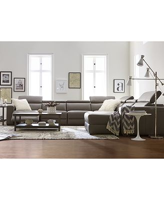 Modern Living Room Furniture Leather furniture nevio leather & fabric power reclining sectional sofa with