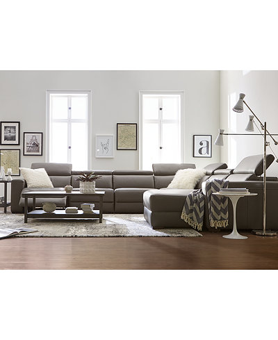 Nevio Leather & Fabric Power Reclining Sectional Sofa with ...