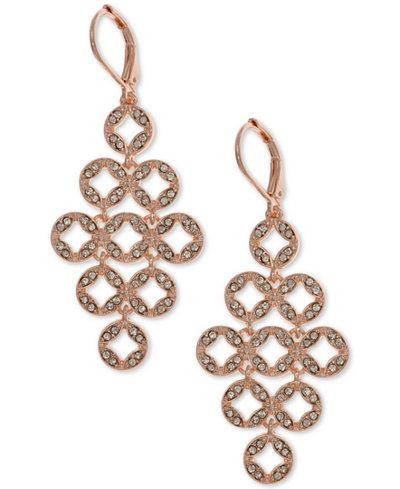 Anne Klein Rose Gold-Tone Pavé Chandelier Earrings