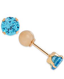 Children's Cubic Zirconia December Birthday Reversible Earrings in 14k Gold
