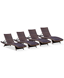 Aldin 4-Pc. Set of Outdoor Wicker Lounges, Quick Ship