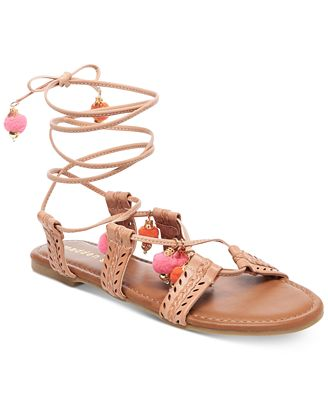 Madden Girl Bailee Lace-Up Pom-Pom Sandals