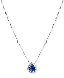 Tanzanite (1-5/8 ct. t.w.) and Diamond (1/4 ct. t.w.) Pendant Necklace in 14k White Gold