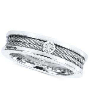 DIAMOND ACCENT TWISTED CABLE RING IN STAINLESS STEEL