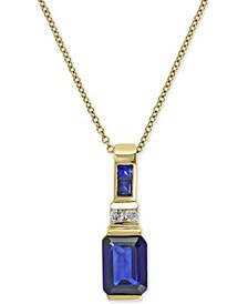 EFFY® Royale Bleu Sapphire (1-3/4 ct. t.w.) and Diamond Accent Pendant Necklace in 14k Gold (Also Available Brasilica by EFFY® Emerald), Created for Macy's