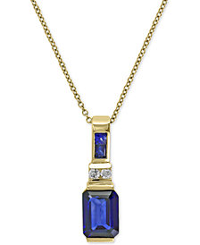 EFFY® Royale Bleu Sapphire (1-3/4 ct. t.w.) and Diamond Accent Pendant Necklace in 14k Gold, Created for Macy's