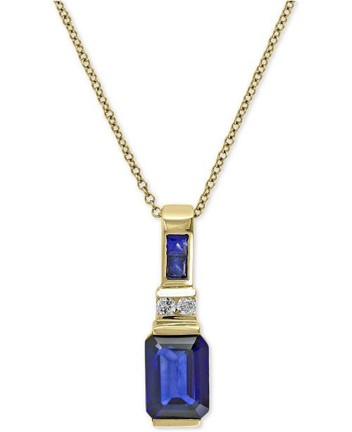 EFFY Collection EFFY® Royale Bleu Sapphire (1-3/4 ct. t.w.) and Diamond Accent Pendant Necklace in 14k Gold, Created for Macy's