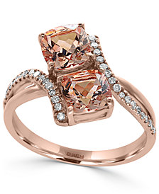EFFY® Morganite (1-9/10 ct. t.w.) and Diamond (1/6 ct. t.w.) Ring in 14k Rose Gold