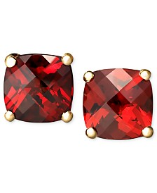 14k Gold Earrings, Garnet Cushion Studs (2-1/4 ct. t.w.)