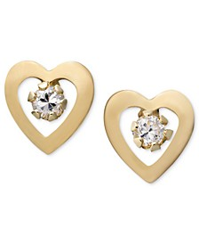 Children's 14k Gold Earrings, Cubic Zirconia Accent Heart Studs