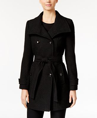 Calvin Klein Funnel-Collar Textured Peacoat, Only at Macy's ...