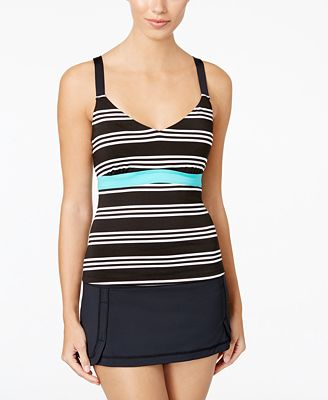 JAG Harbor Stripe D-Cup Tankini Top & Mini Swim Skirt
