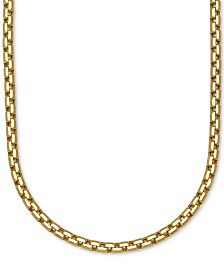 "Large Rounded Box-Link 22"" Chain Necklace (3-3/8mm) in 14k Gold"