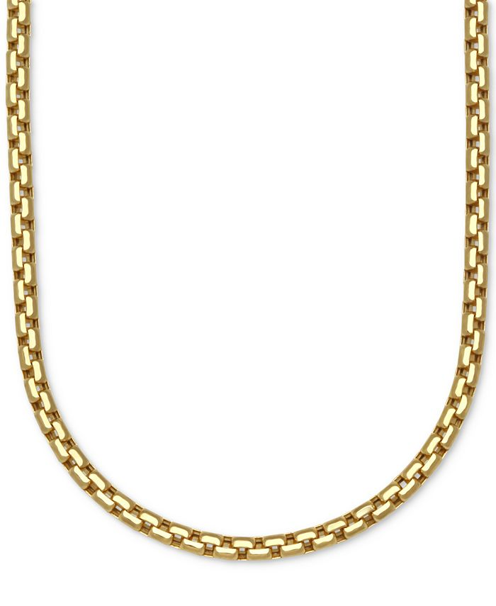Italian Gold - Large Rounded Box-Link Chain Necklace in 14k Gold