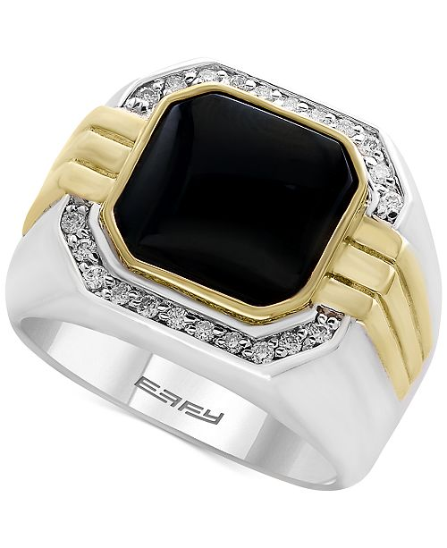 EFFY Collection EFFY® Men's Onyx (10 x 10mm) and Diamond (1/5 ct. t.w.) in Sterling Silver and 14k Gold