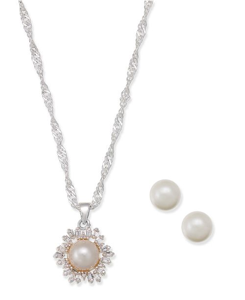 Charter Club Silver-Tone Crystal Imitation Pearl Pendant Necklace and Matching Stud Earrings Set, Created for Macy's