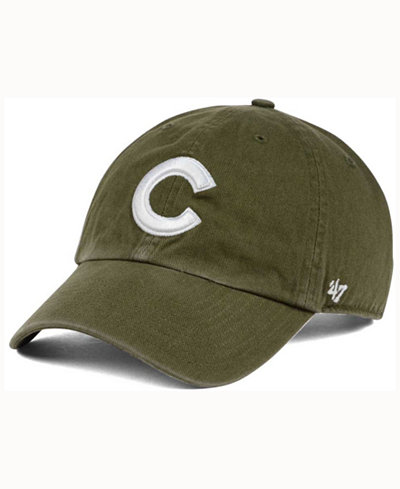 '47 Brand Chicago Cubs Olive White CLEAN UP Cap