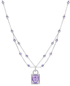 Amethyst (5-5/8 ct. t.w.) and Diamond (1/8 ct. t.w.) Layer Pendant Necklace in 14k White Gold