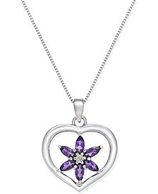 Amethyst (1/2 ct. t.w.) and Diamond Accent Flower Heart Pendant Necklace in 14K White Gold