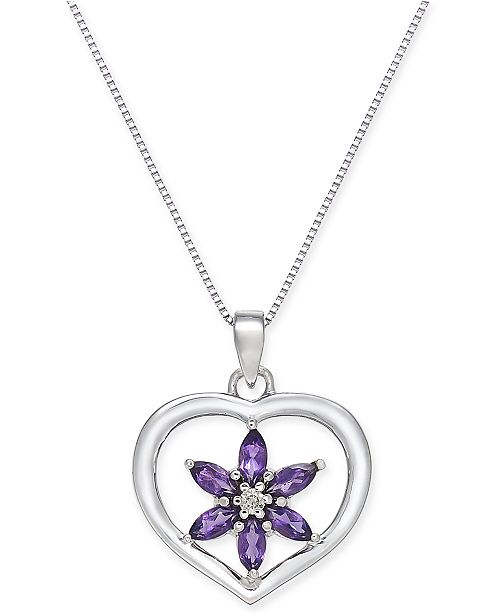 Macy's Amethyst (1/2 ct. t.w.) and Diamond Accent Flower Heart Pendant Necklace in 14K White Gold
